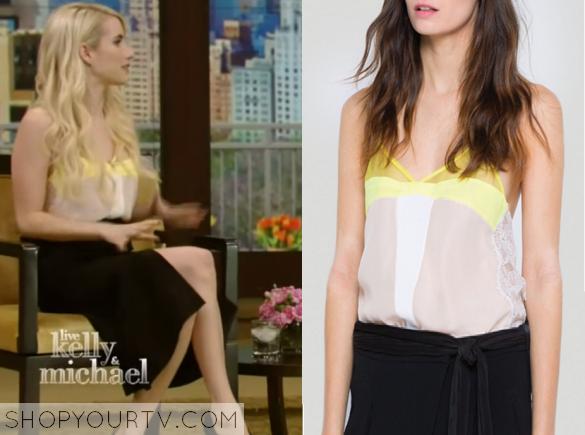 Kelly Michael November 2015 Emma Roberts Yellow Colorblock Cami Shop Your Tv