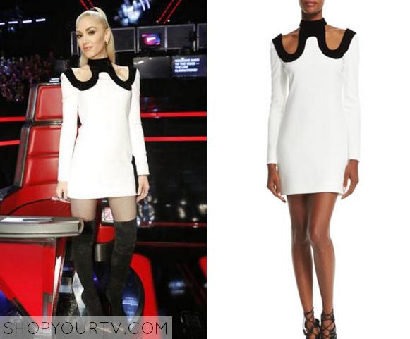 gwen stefani white cut out dress