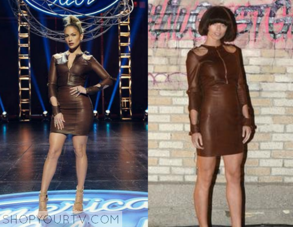 j lo brown leather dress