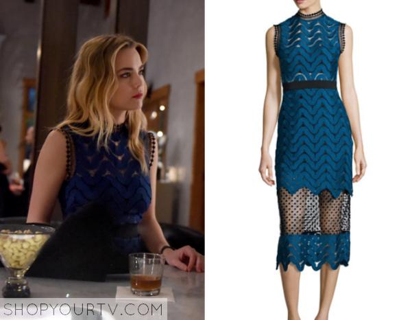 blue lace cut out dress