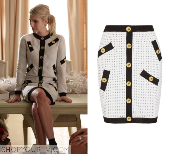 chanel button front skirt