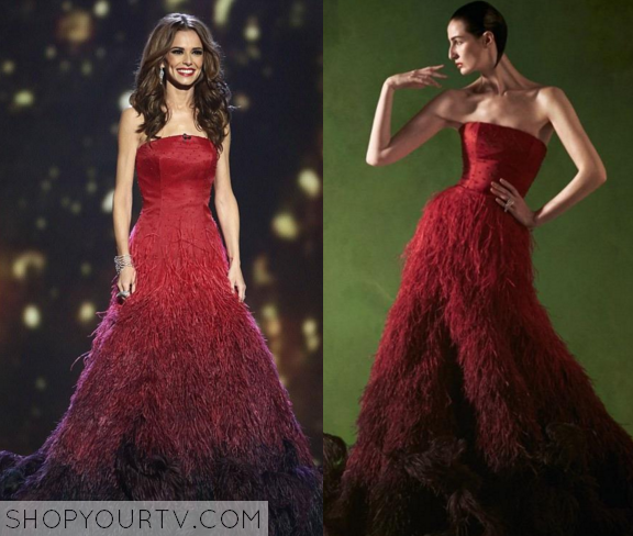 cheryl cole feather red dress
