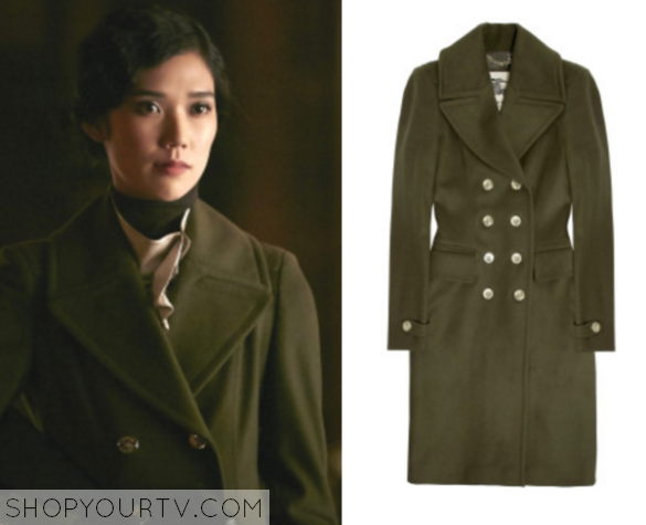 green doublebreasted coat