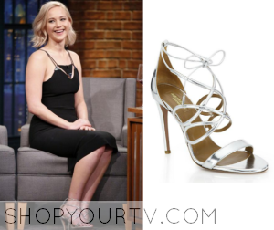 Late Night: December 2015 Jennifer Lawrence's Silver Strappy Shoes