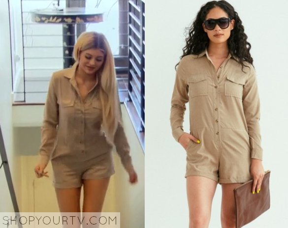 65b9ee01036 Kylie Jenner wears this green safari military style playsuit in this week s  episode of Keeping Up With the Kardashians.