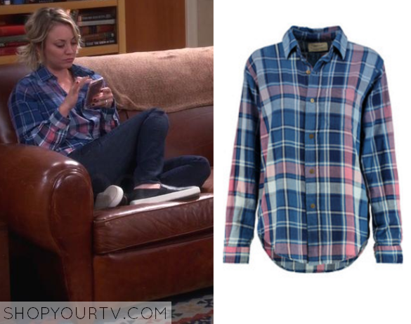 penny blue pink plaid shirt - Big Bang Theory: Season 9 Episode 10 Penny's Pink/Blue Plaid Shirt