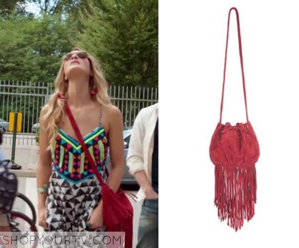 pheobe red fringe bag