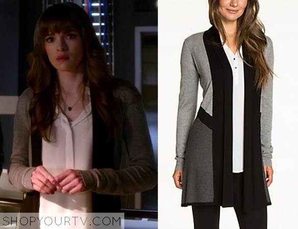 370632fd25c197 THE FLASH  SEASON 2 EPISODE 9 CAITLIN S GREY COLOR BLOCK CARDIGAN