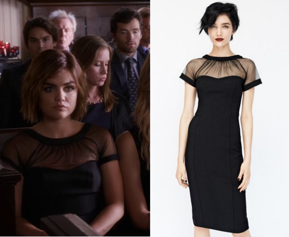 38bbcc6a Aria Montgomery (Lucy Hale) wears this black mesh top dress in this week's  episode of Pretty Little Liars. It is the Maggy London Illusion Yoke Crepe  Sheath ...