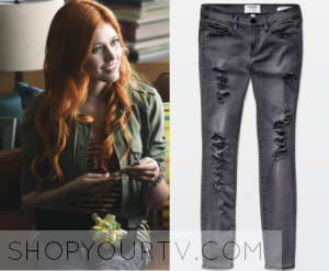 Shadowhunters: Season 1 Episode 1 Clary's Grey Ripped Jeans