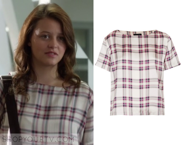 cb31d899a7 Frankie Hollingsworth (Sara Waisglass) this white and red plaid tartan tee  in this week s episode of Degrassi Next Class.