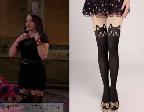 2 Broke Girls Season  Maxs Cat Print Stockings