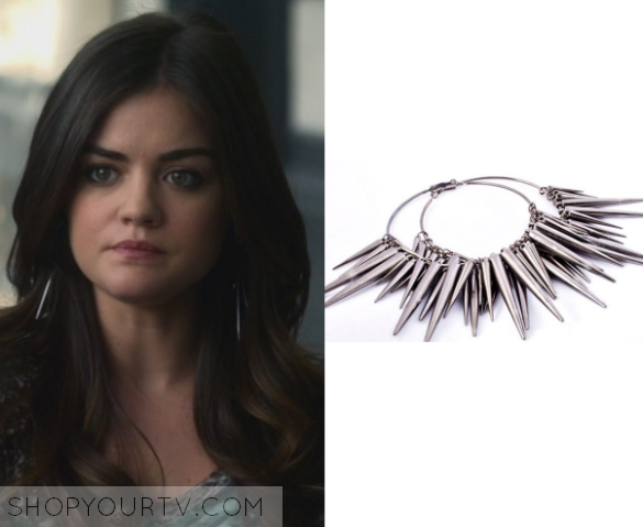 Aria Montgomery Lucy Hale Wears These Silver Multi Spiked Circle Earrings In This Episode Of Pretty Little Liars Father Knows Best