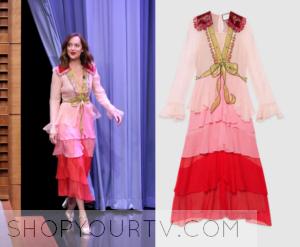 The Tonight Show: January 2015 Dakota's Pink Ruffle Dress