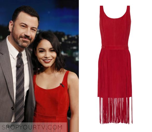 28a61a40da8 Jimmy Kimmel Live  January 2016 Vanessa Hudgen s Red Fringe Dress