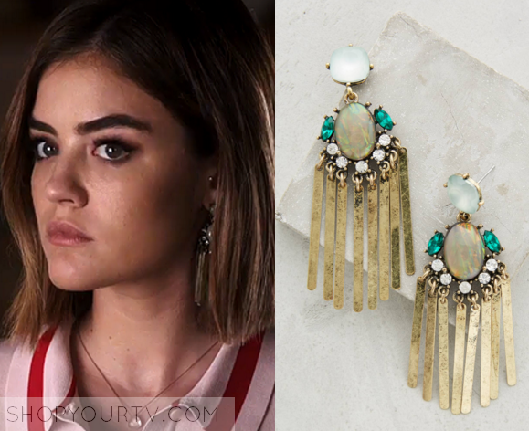 Excellent Pretty Little Liars: Season 6 Episode 19 Aria's Teal Gold Fringe  AC88