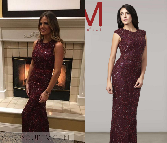 The Bachelorette Season 12 Episode 2 Jojos Burgundy Embellished Gown