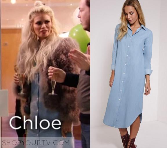 TOWIE  Season 17 Episode 2 Chloe s Denim Button Down Dress eae209717