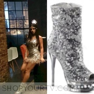 SHADOWHUNTERS: SEASON 1 EPISODE 4 ISABELLE'S SILVER SEQUIN PEEP TOE BOOTIES
