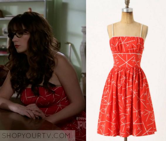 New Girl: Season 5 Episode 11 Jess&39 Red Print Dress
