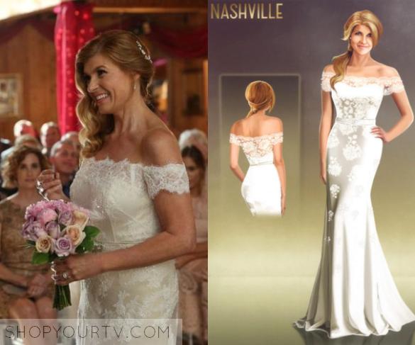 Nashville season 4 episode 11 rayna s off the shoulder for Nashville wedding dress shops