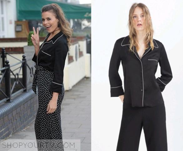 TOWIE: Season 17 Episode 13 Chloe's Black Pyjama Style Blouse