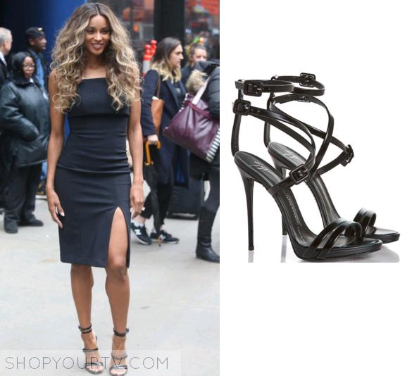Good Morning America  April 2016 Ciara s Black Strappy Heels 2fc440a18
