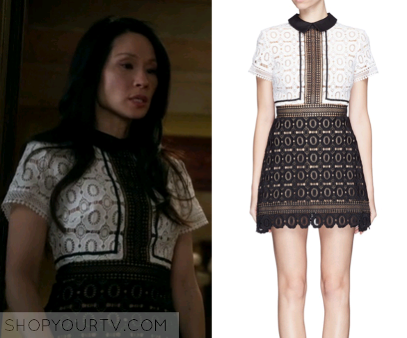 77bd483c1 Elementary: Season 4 Episode 19 Joan's Black/White Lace Collared Dress