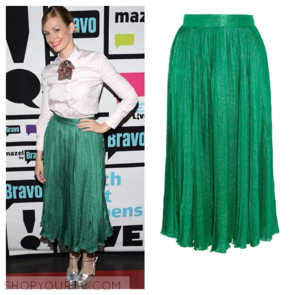 gucci green pleated midi skirt