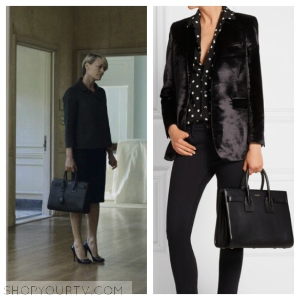 House of Cards  Season 4 Episode 1 Claire s Black Leather Tote Bag ... 1825f01147e90
