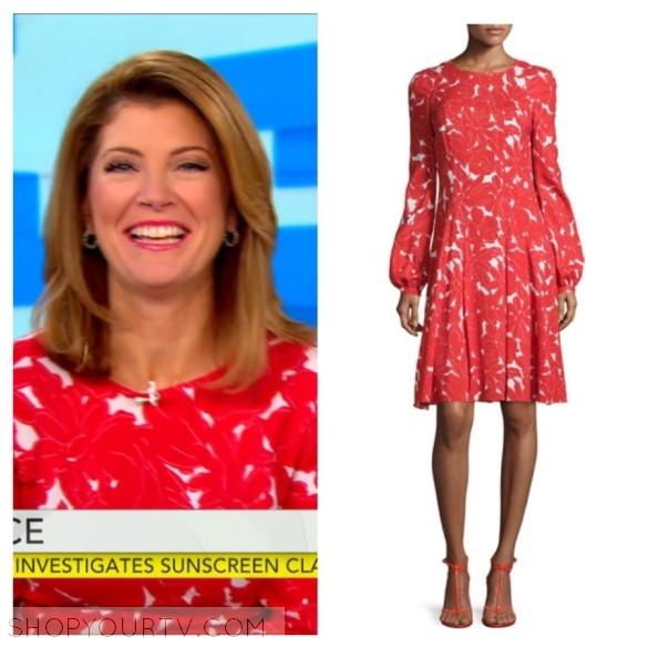 oscar de la renta white and red floral dress