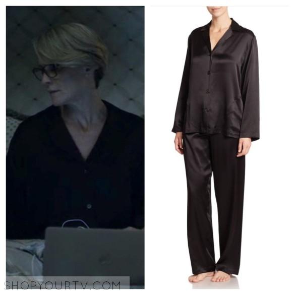 la perla black silk pajamas