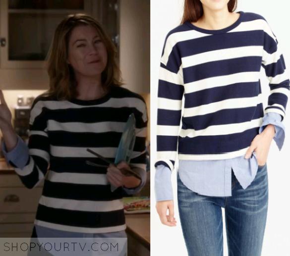 Greys Anatomy Season 12 Episode 17 Merediths Striped Sweater With