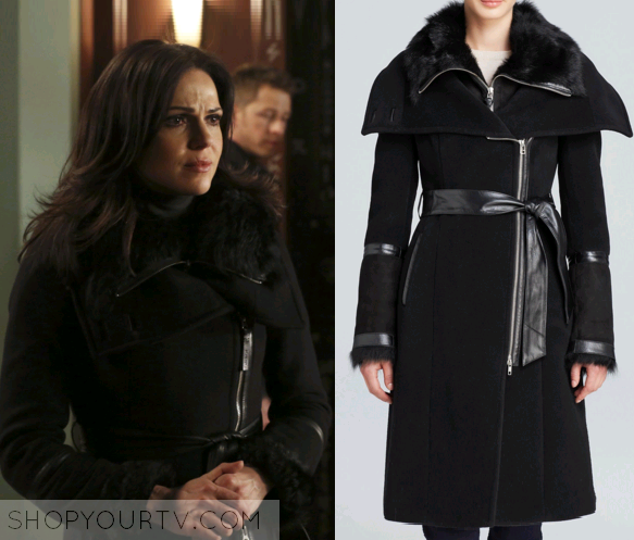 Shop Your TV: OUAT: Season 5 Episode 20 Regina's Black Fur Trim Coat
