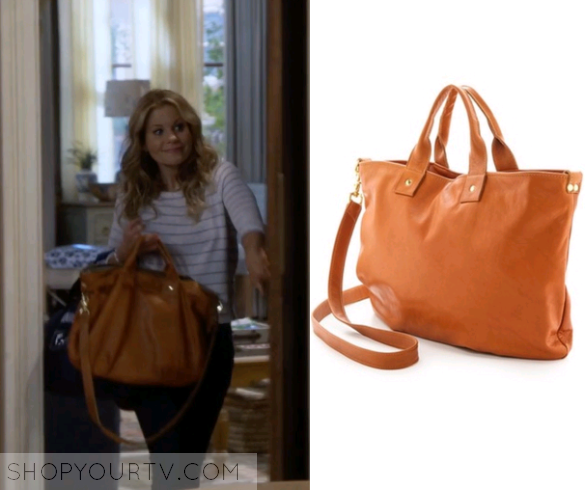 D J Tanner Fuller Candace Cameron Bure Uses This Brown Leather Tote Bag In Episode Of House