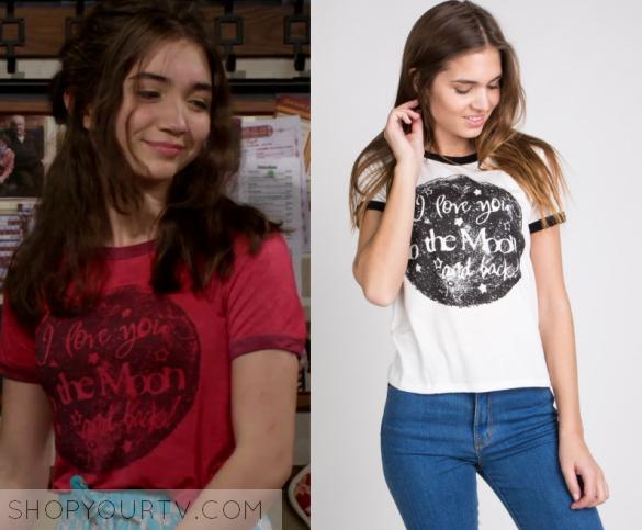 "f8880ab5e Riley Matthews (Rowan Blanchard) wears this red ringer trim tee moon  graphic print ""I love you to the moon and back"" in this episode of Girl  Meets World, ..."