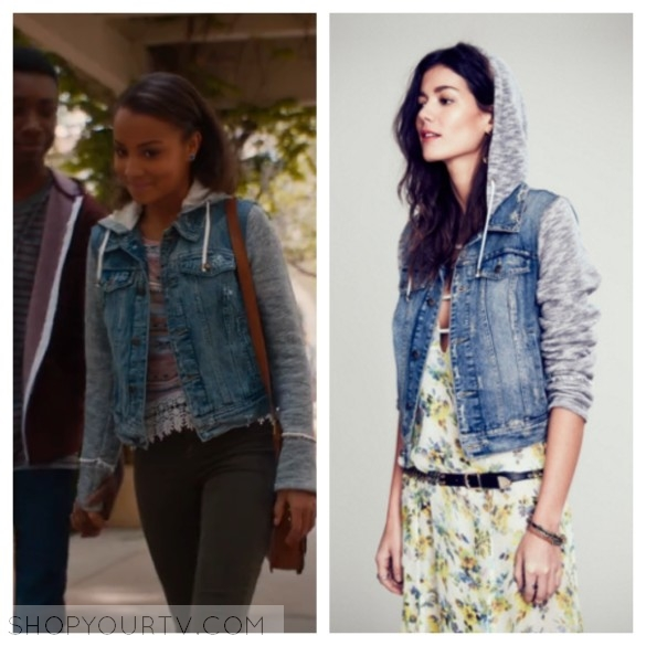 FREE PEOPLE COLLECTION WOMENS KNIT HOODED DENIM JACKET