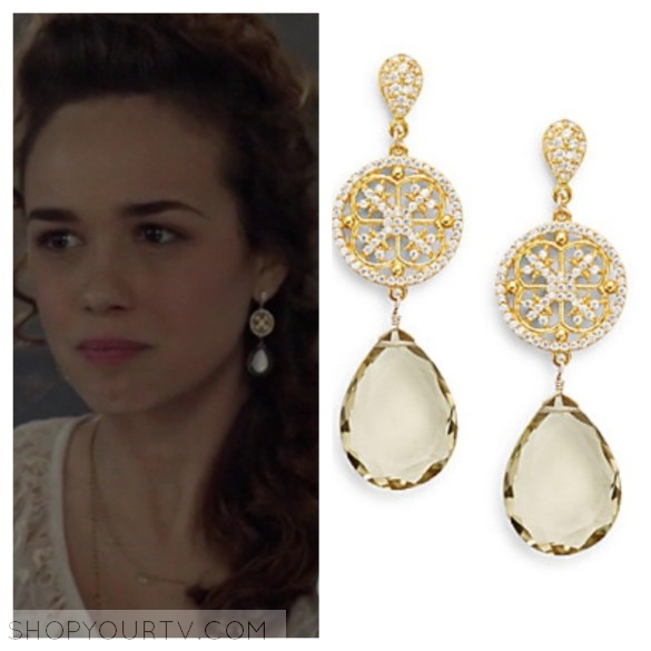 azaara lemon quartz openwork drop earrings