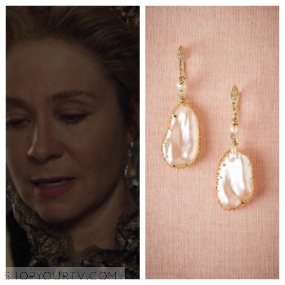 queen catherine pearl drop earrings reign 3x17 fashion