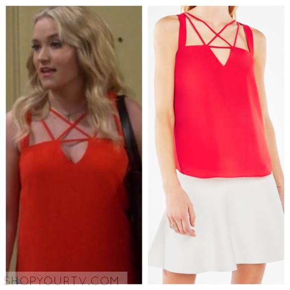 gabi diamond's red strappy cutout top young and hungry fashion style