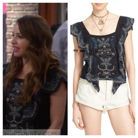 sofia's black embroidered ruffle top young and hungry fashion style outfit wardrobe clothes