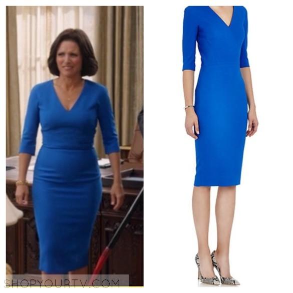 selina meyer blue v-neck dress style fashion wardrobe