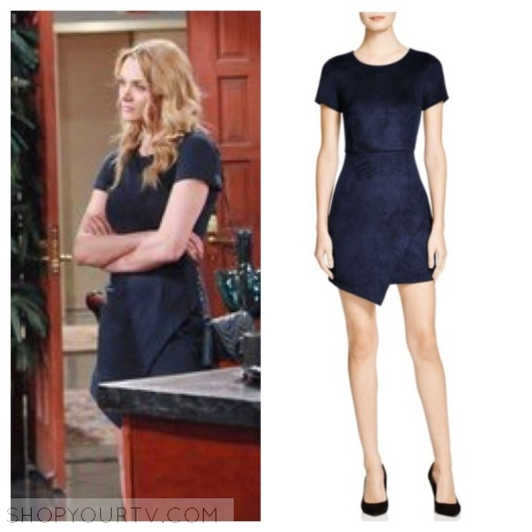 summer newman navy blue suede dress the young and the restless