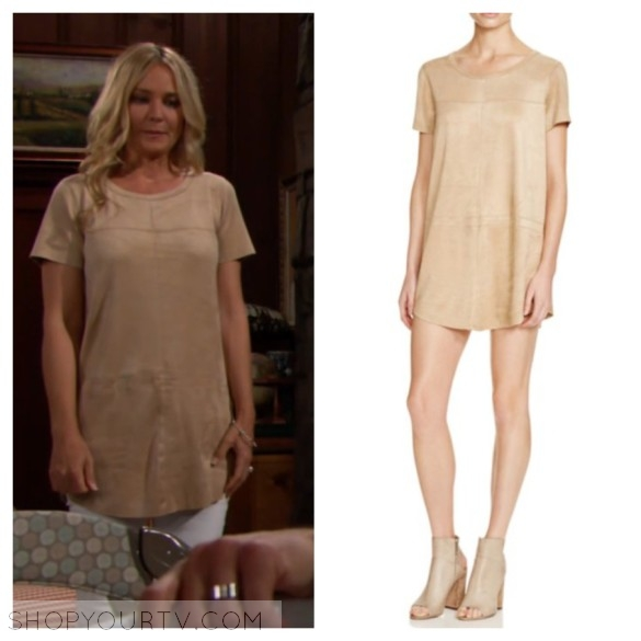 sharon newman tan suede top the young and the restless