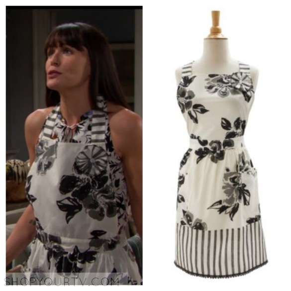 quinn fuller black and white floral striped apron the bold and the beautiful