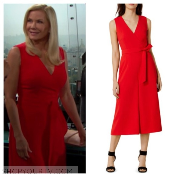 brooke logan red jumpsuit the bold and the beautiful