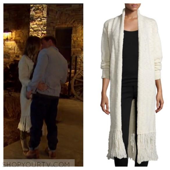 jojo fletcher off white fringe trim long cardigan the bachelorette fashion style