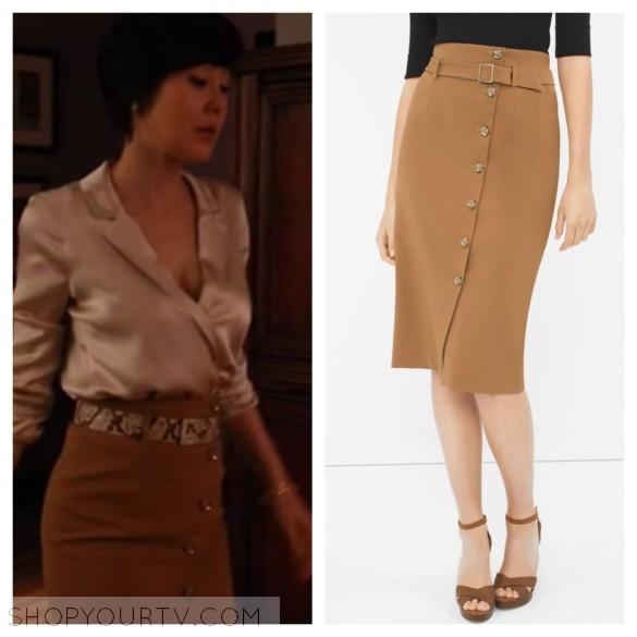 karen kim's brown pencil skirt with buttons mistresses
