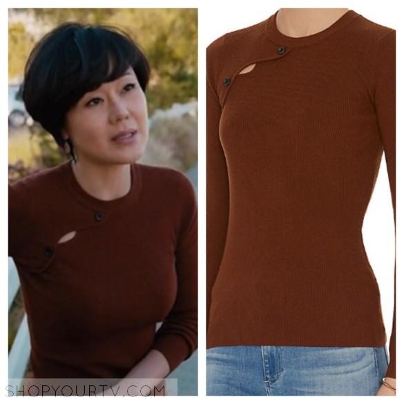 karen's brown asymmetric button sweater mistresses style fashion wardrobe outfit