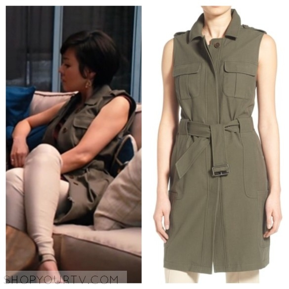 karen's green vest mistresses style fashion wardrobe outfit